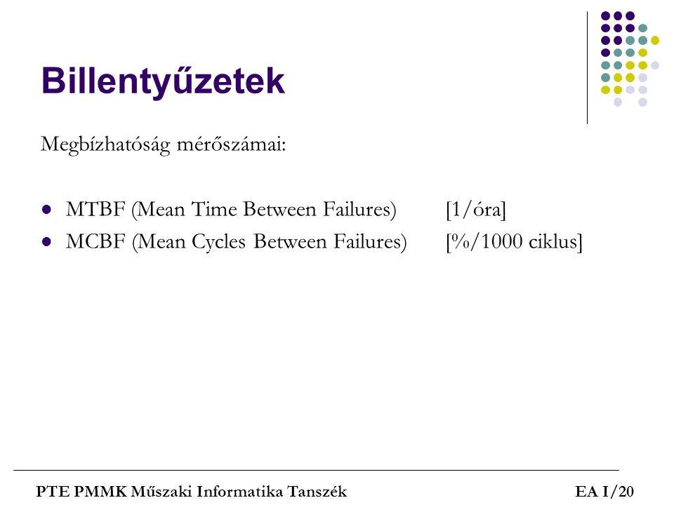 Billentyűzetek Megbízhatóság mérőszámai:  MTBF (Mean Time Between Failures)[1/óra]  MCBF (Mean Cycles Between Failures)[%/1000 ciklus] PTE PMMK Műsz
