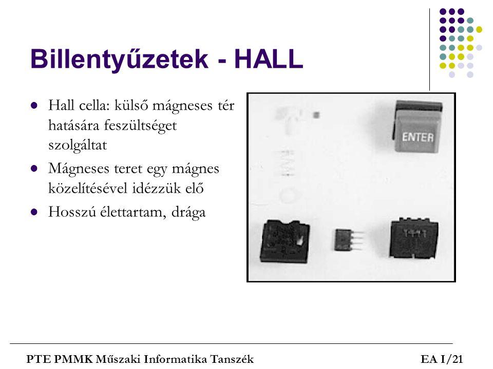 Billentyűzetek - HALL  Hall cella: külső mágneses tér hatására feszültséget szolgáltat  Mágneses teret egy mágnes közelítésével idézzük elő  Hosszú
