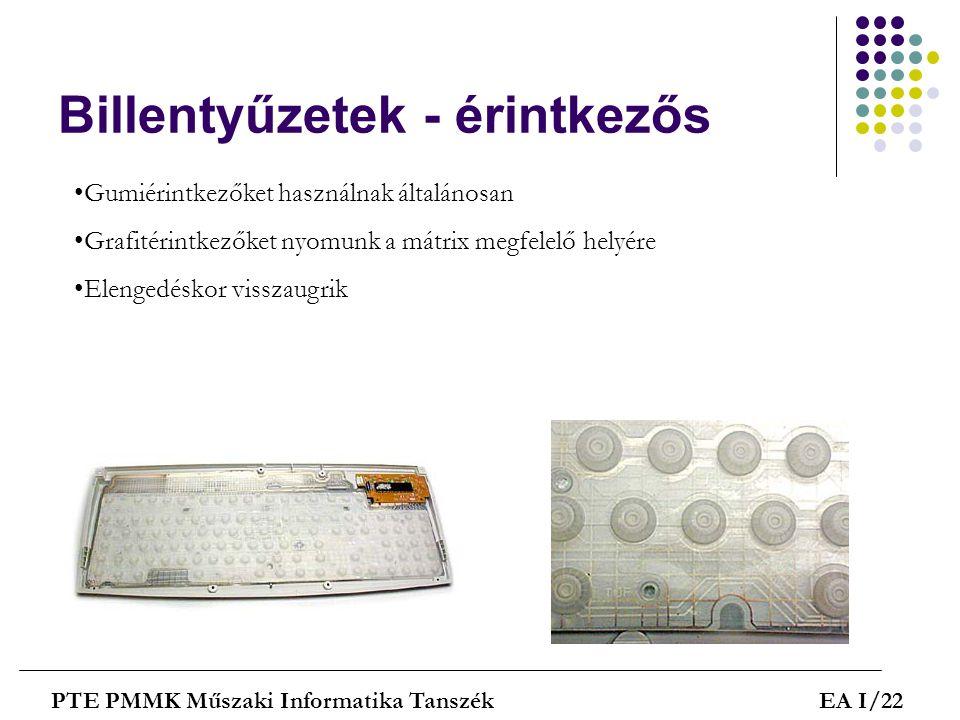 Billentyűzetek - érintkezős PTE PMMK Műszaki Informatika TanszékEA I/22 •Gumiérintkezőket használnak általánosan •Grafitérintkezőket nyomunk a mátrix