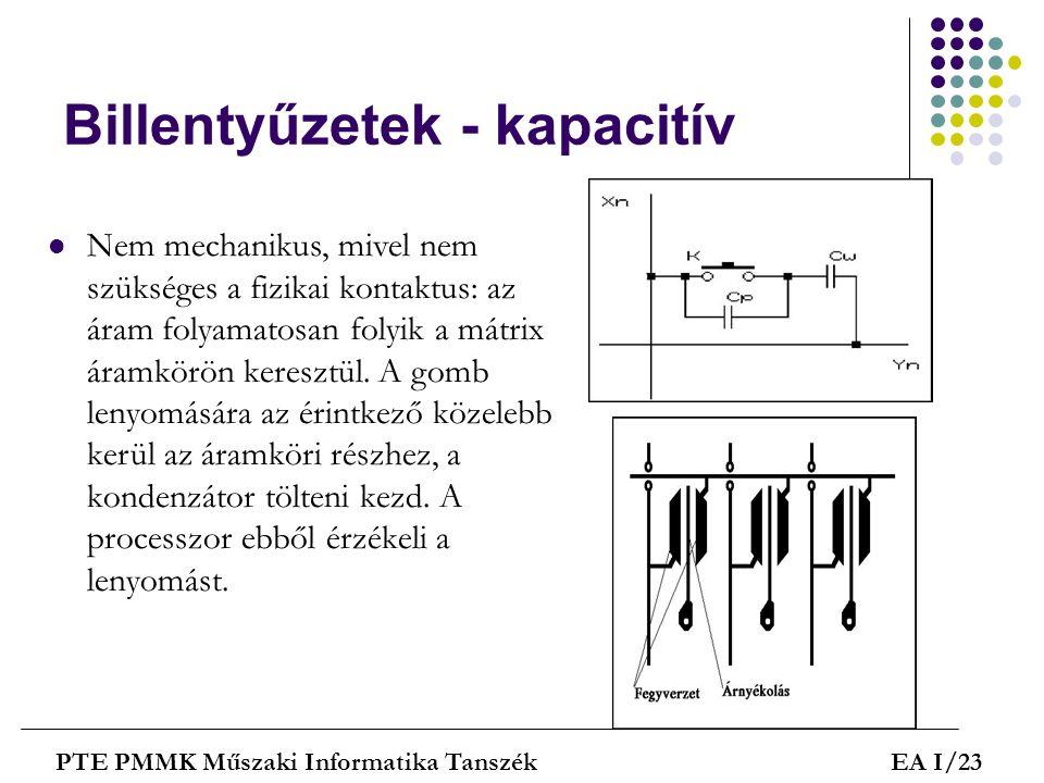 Billentyűzetek - kapacitív  Nem mechanikus, mivel nem szükséges a fizikai kontaktus: az áram folyamatosan folyik a mátrix áramkörön keresztül. A gomb