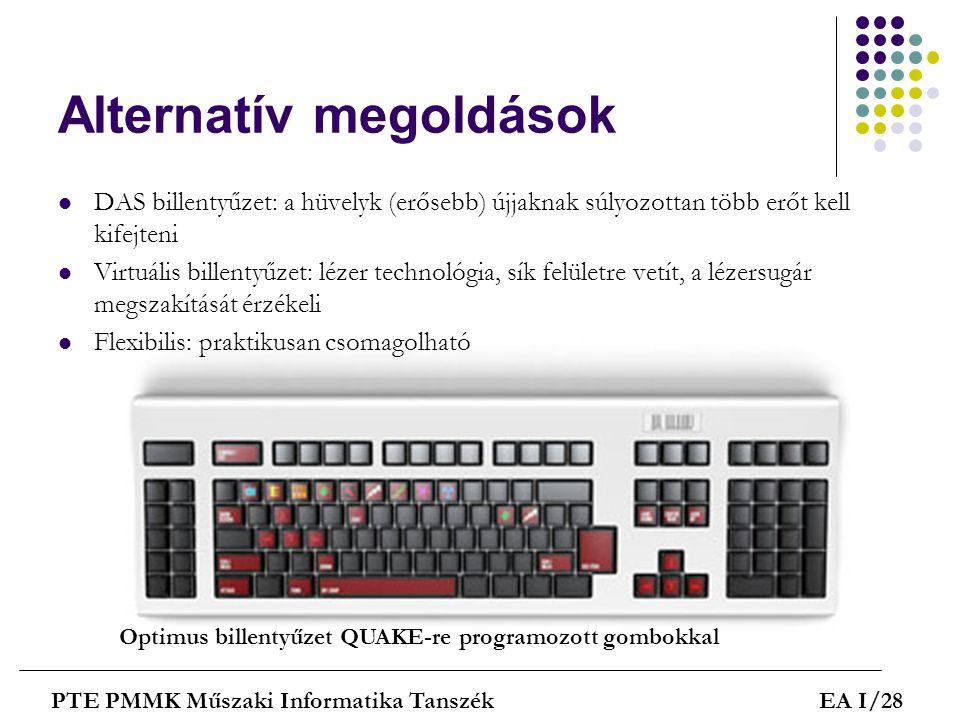 Alternatív megoldások PTE PMMK Műszaki Informatika TanszékEA I/28  DAS billentyűzet: a hüvelyk (erősebb) újjaknak súlyozottan több erőt kell kifejten