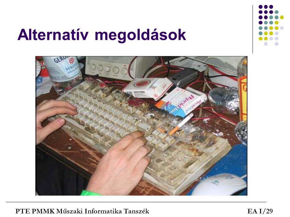 Alternatív megoldások PTE PMMK Műszaki Informatika TanszékEA I/29