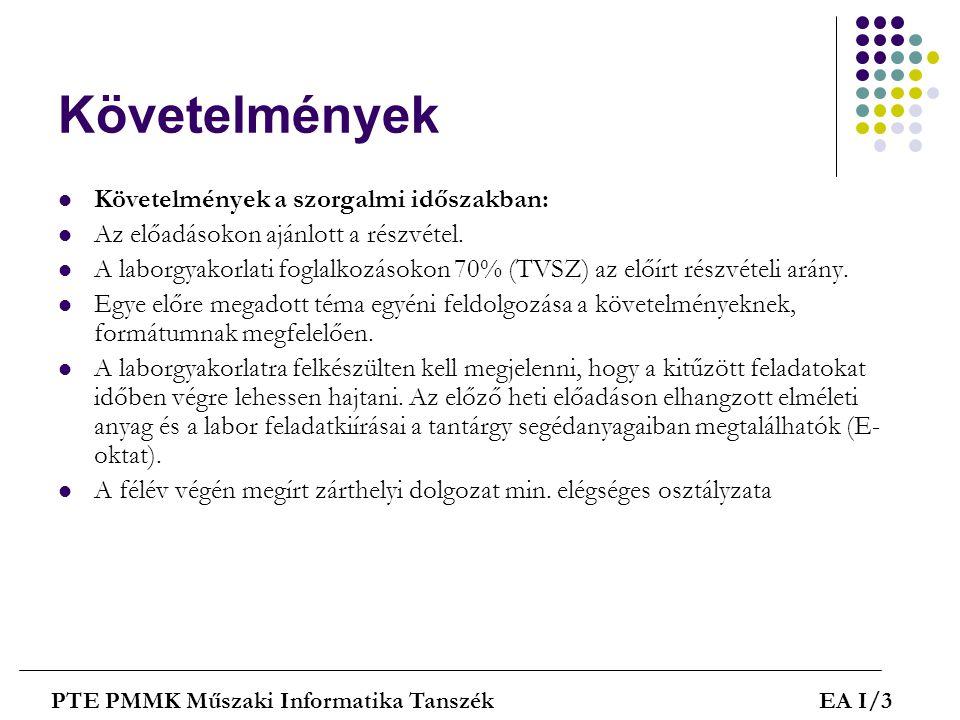 Billentyűzetek - Fólia PTE PMMK Műszaki Informatika TanszékEA I/24