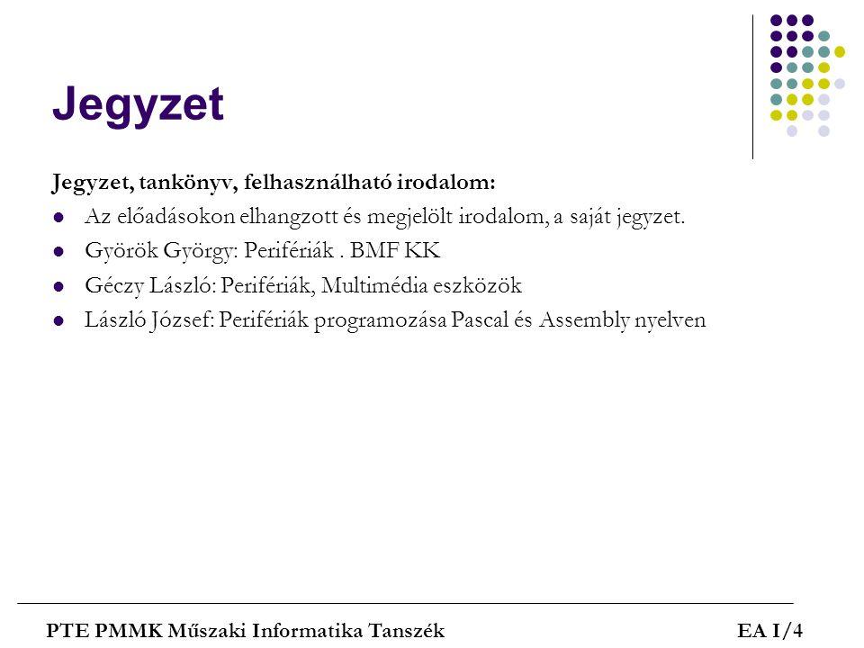 Heti bontás PTE PMMK Műszaki Informatika TanszékEA I/5