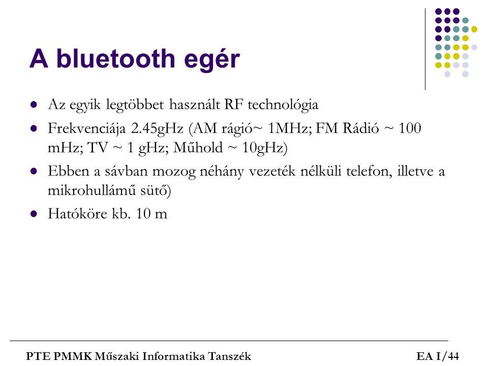 A bluetooth egér  Az egyik legtöbbet használt RF technológia  Frekvenciája 2.45gHz (AM rágió~ 1MHz; FM Rádió ~ 100 mHz; TV ~ 1 gHz; Műhold ~ 10gHz)