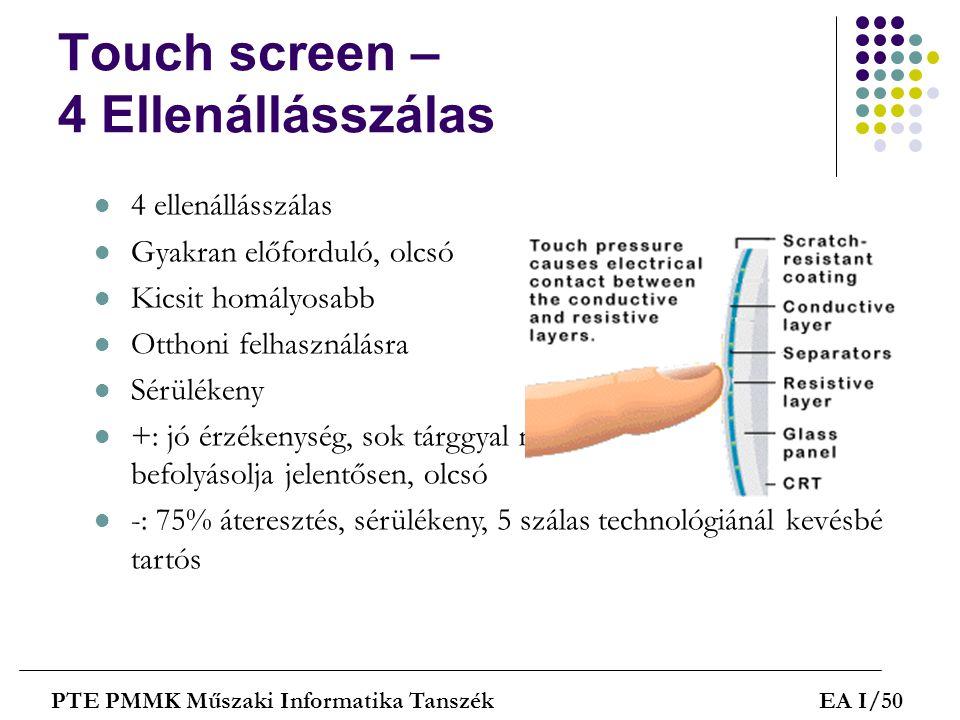 Touch screen – 4 Ellenállásszálas PTE PMMK Műszaki Informatika TanszékEA I/50  4 ellenállásszálas  Gyakran előforduló, olcsó  Kicsit homályosabb 