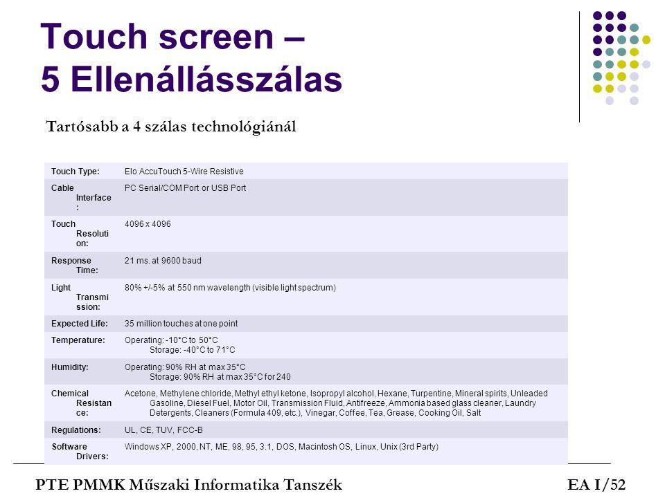 Touch screen – 5 Ellenállásszálas PTE PMMK Műszaki Informatika TanszékEA I/52 Touch Type:Elo AccuTouch 5-Wire Resistive Cable Interface : PC Serial/CO