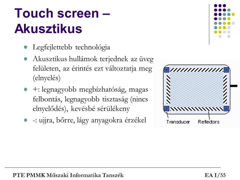 Touch screen – Akusztikus PTE PMMK Műszaki Informatika TanszékEA I/55  Legfejlettebb technológia  Akusztikus hullámok terjednek az üveg felületen, a