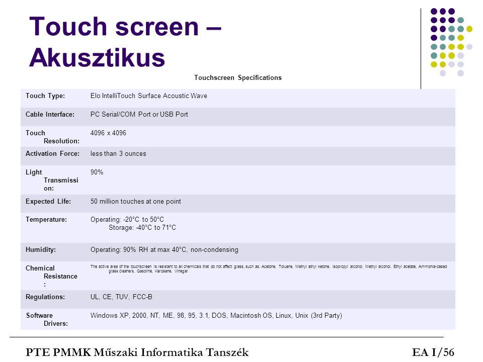 Touch screen – Akusztikus PTE PMMK Műszaki Informatika TanszékEA I/56 Touchscreen Specifications Touch Type:Elo IntelliTouch Surface Acoustic Wave Cab