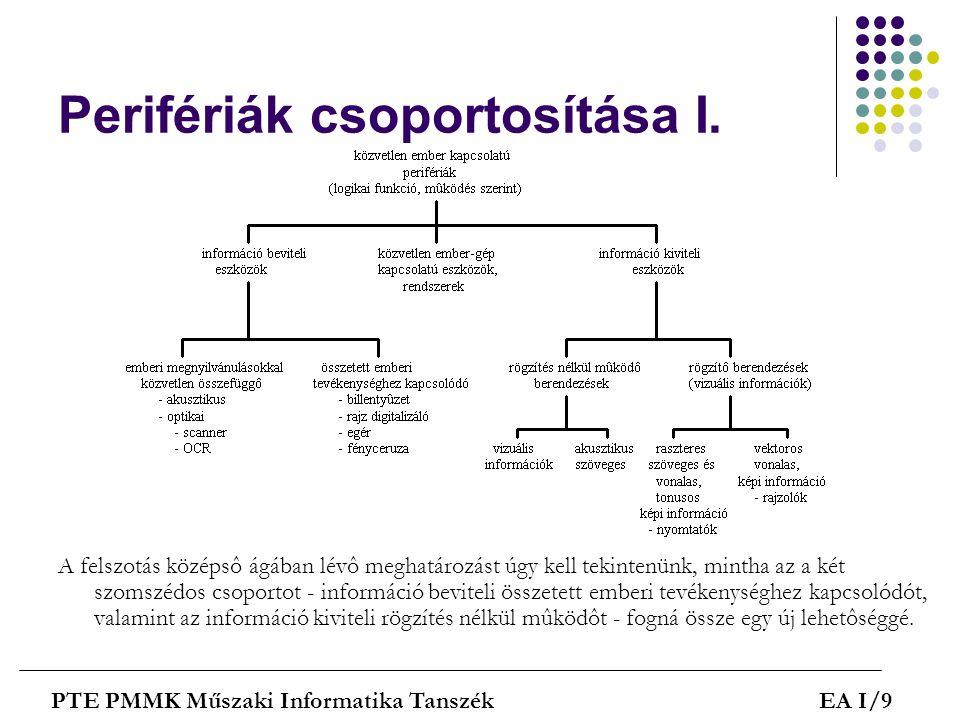 Perifériák csoportosítása I. A felszotás középsô ágában lévô meghatározást úgy kell tekintenünk, mintha az a két szomszédos csoportot - információ bev