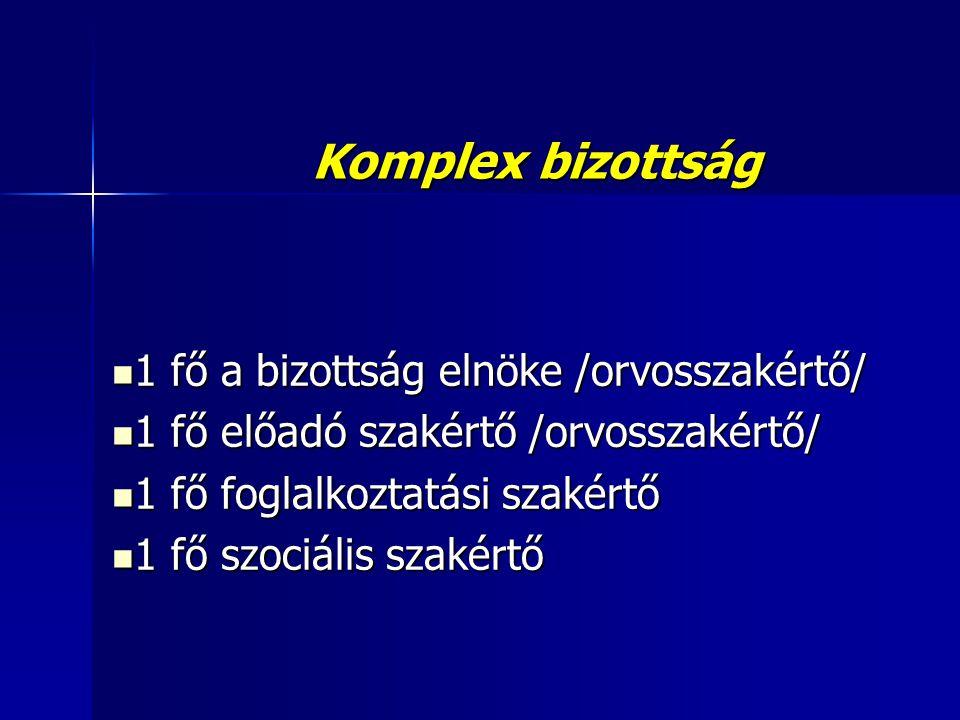 Komplex bizottság  1 fő a bizottság elnöke /orvosszakértő/  1 fő előadó szakértő /orvosszakértő/  1 fő foglalkoztatási szakértő  1 fő szociális sz