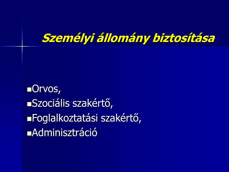 Személyi állomány biztosítása  Orvos,  Szociális szakértő,  Foglalkoztatási szakértő,  Adminisztráció