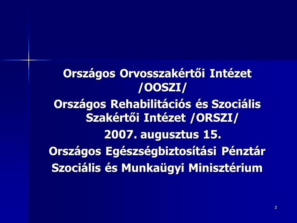 2 Országos Orvosszakértői Intézet /OOSZI/ Országos Rehabilitációs és Szociális Szakértői Intézet /ORSZI/ 2007. augusztus 15. Országos Egészségbiztosít