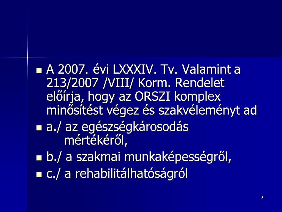 3  A 2007. évi LXXXIV. Tv. Valamint a 213/2007 /VIII/ Korm. Rendelet előírja, hogy az ORSZI komplex minősítést végez és szakvéleményt ad  a./ az egé