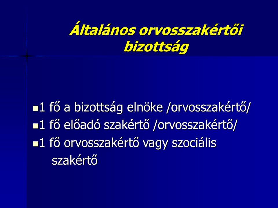 Általános orvosszakértői bizottság  1 fő a bizottság elnöke /orvosszakértő/  1 fő előadó szakértő /orvosszakértő/  1 fő orvosszakértő vagy szociáli