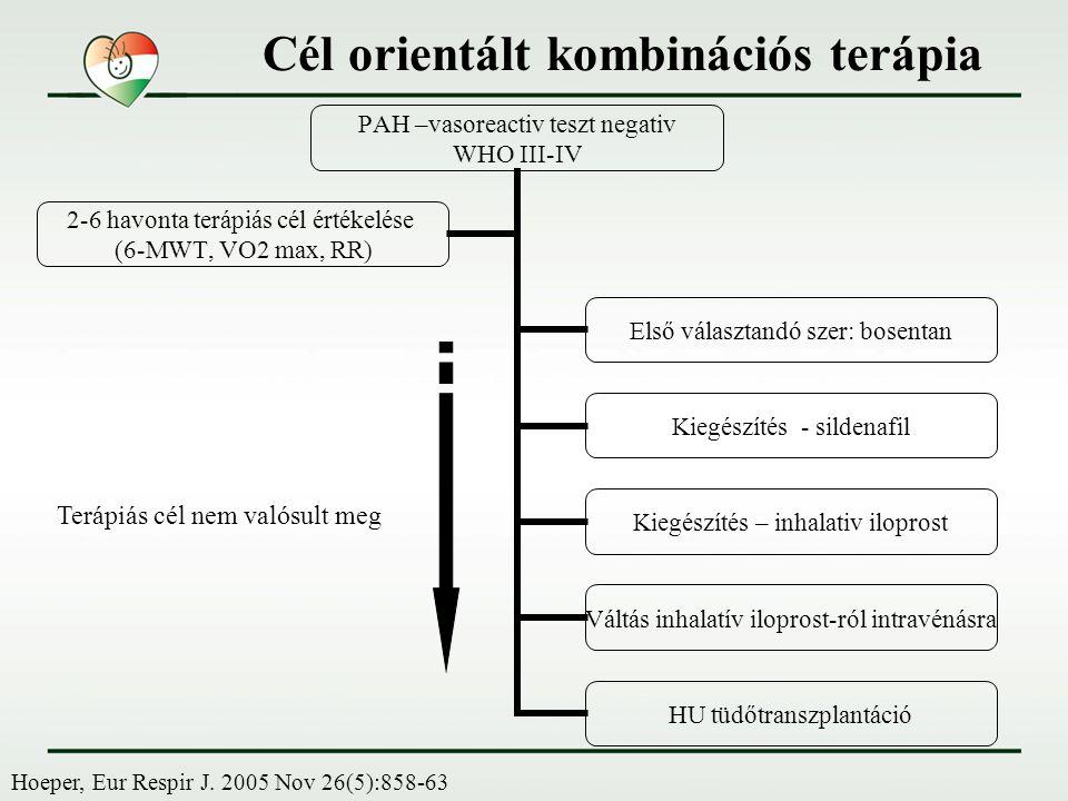 PAH –vasoreactiv teszt negativ WHO III-IV Első választandó szer: bosentan Kiegészítés - sildenafil Kiegészítés – inhalativ iloprost Váltás inhalatív i
