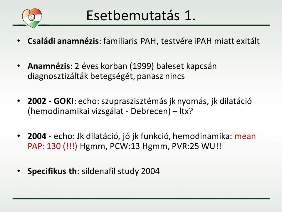 Esetbemutatás 1. • Családi anamnézis: familiaris PAH, testvére iPAH miatt exitált • Anamnézis: 2 éves korban (1999) baleset kapcsán diagnosztizálták b