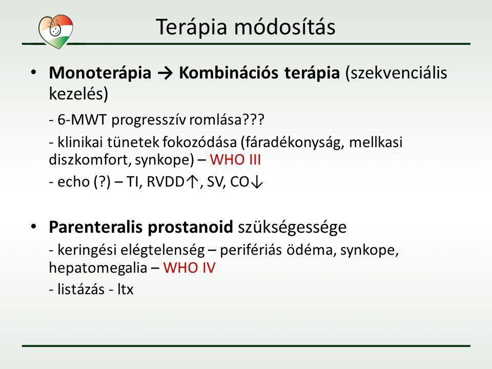 Terápia módosítás • Monoterápia → Kombinációs terápia (szekvenciális kezelés) - 6-MWT progresszív romlása??? - klinikai tünetek fokozódása (fáradékony