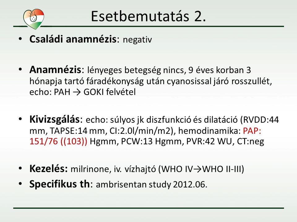 Esetbemutatás 2. • Családi anamnézis: negativ • Anamnézis: lényeges betegség nincs, 9 éves korban 3 hónapja tartó fáradékonyság után cyanosissal járó