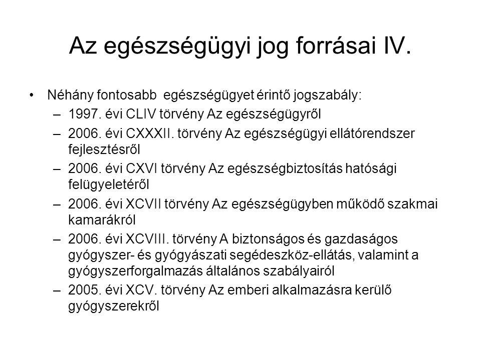 Az egészségügyi jog forrásai IV. •Néhány fontosabb egészségügyet érintő jogszabály: –1997. évi CLIV törvény Az egészségügyről –2006. évi CXXXII. törvé