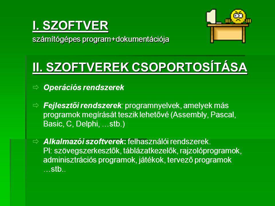 I. SZOFTVER számítógépes program+dokumentációja II. SZOFTVEREK CSOPORTOSÍTÁSA   Operációs rendszerek   Fejlesztői rendszerek: programnyelvek, amel