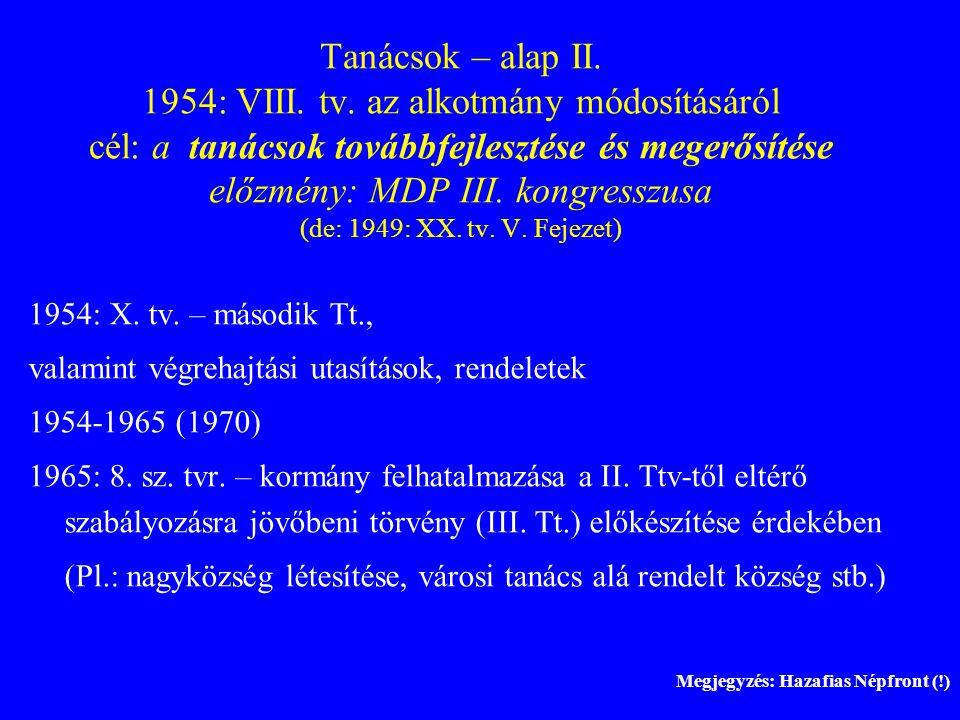 Tanácsok – alap II. 1954: VIII. tv. az alkotmány módosításáról cél: a tanácsok továbbfejlesztése és megerősítése előzmény: MDP III. kongresszusa (de: