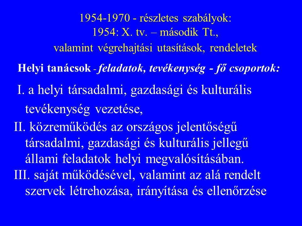 1954-1970 - részletes szabályok: 1954: X. tv. – második Tt., valamint végrehajtási utasítások, rendeletek Helyi tanácsok - feladatok, tevékenység - fő
