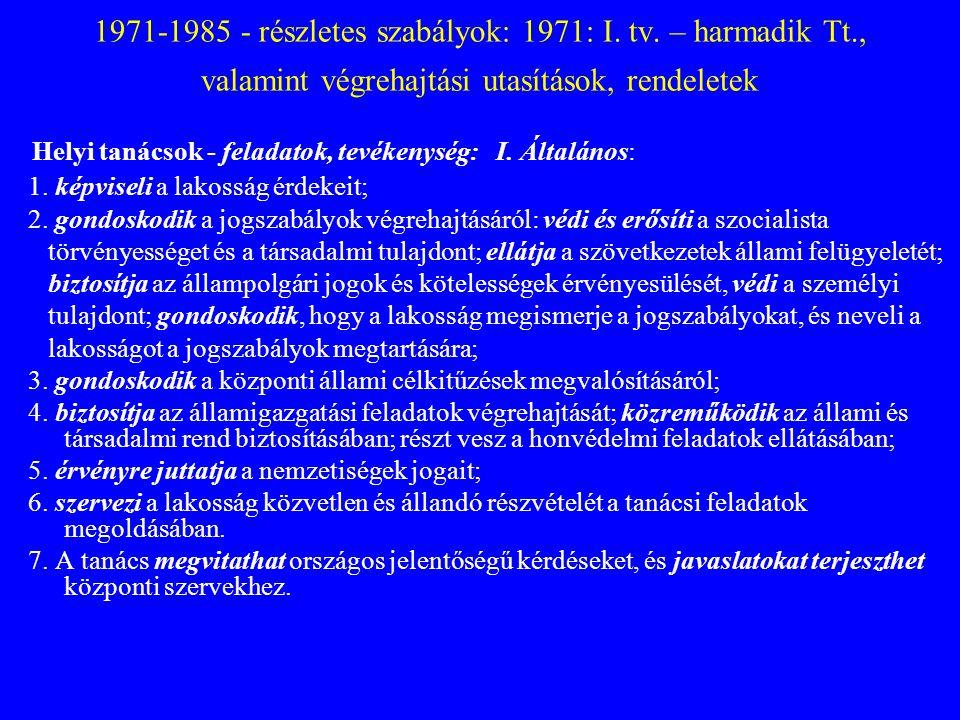 1971-1985 - részletes szabályok: 1971: I. tv. – harmadik Tt., valamint végrehajtási utasítások, rendeletek Helyi tanácsok - feladatok, tevékenység: I.