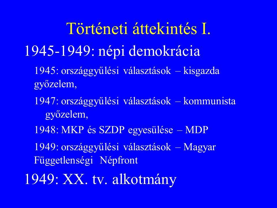 Történeti áttekintés I. 1945-1949: népi demokrácia 1945: országgyűlési választások – kisgazda győzelem, 1947: országgyűlési választások – kommunista g