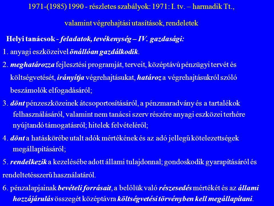 1971-(1985) 1990 - részletes szabályok: 1971: I. tv. – harmadik Tt., valamint végrehajtási utasítások, rendeletek Helyi tanácsok - feladatok, tevékeny