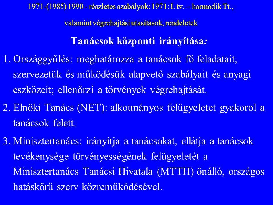 1971-(1985) 1990 - részletes szabályok: 1971: I. tv. – harmadik Tt., valamint végrehajtási utasítások, rendeletek Tanácsok központi irányítása: 1. Ors