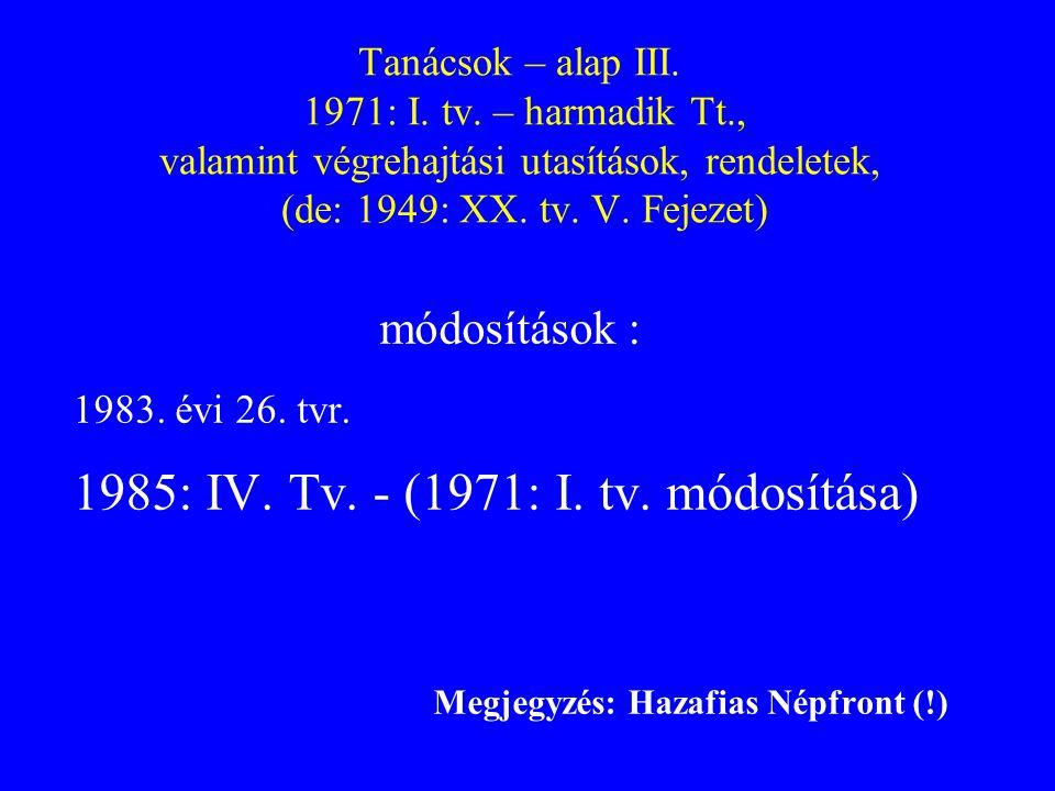 Tanácsok – alap III. 1971: I. tv. – harmadik Tt., valamint végrehajtási utasítások, rendeletek, (de: 1949: XX. tv. V. Fejezet) módosítások : 1983. évi