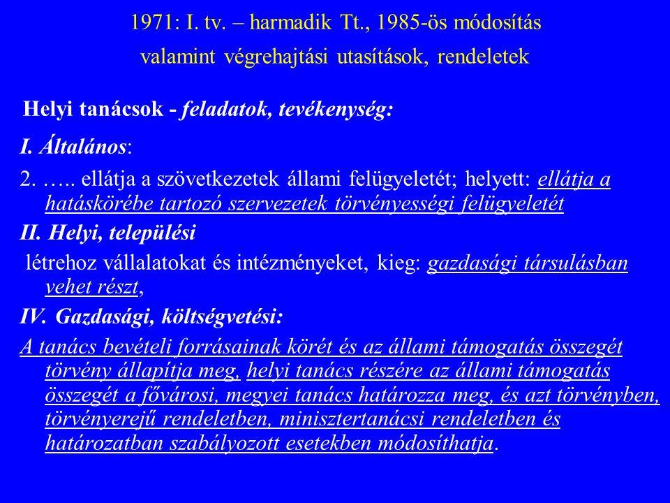 1971: I. tv. – harmadik Tt., 1985-ös módosítás valamint végrehajtási utasítások, rendeletek Helyi tanácsok - feladatok, tevékenység: I. Általános: 2.