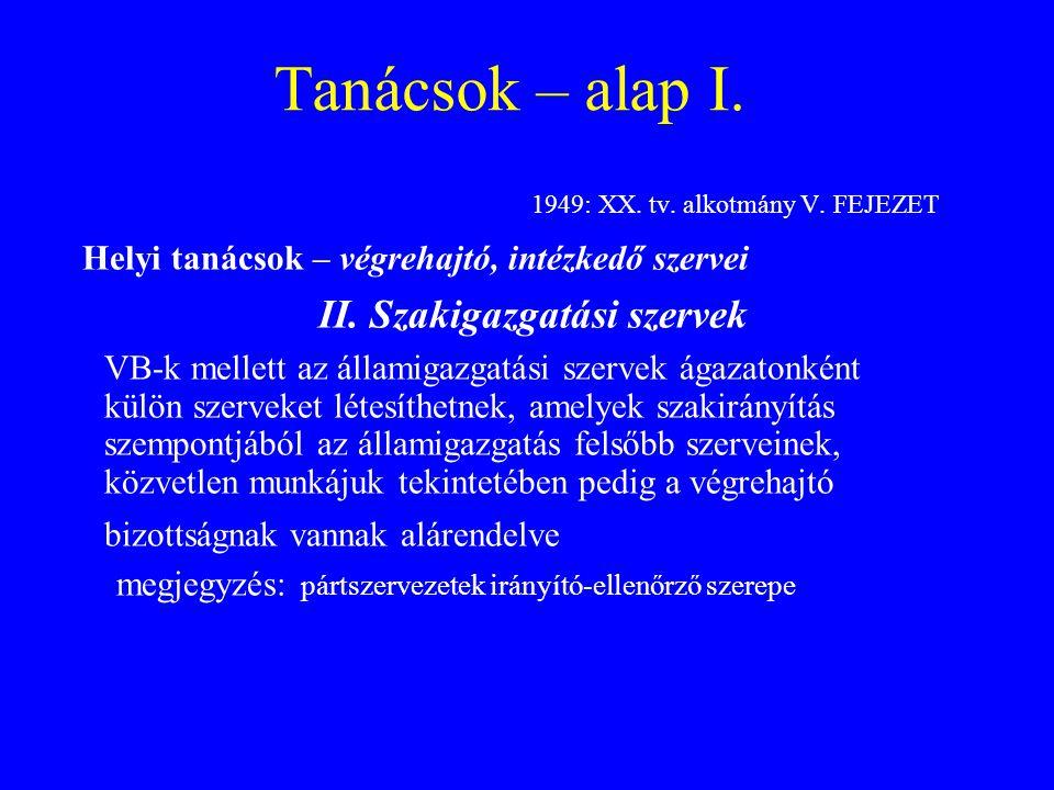 Tanácsok – alap I. 1949: XX. tv. alkotmány V. FEJEZET Helyi tanácsok – végrehajtó, intézkedő szervei II. Szakigazgatási szervek VB-k mellett az állami
