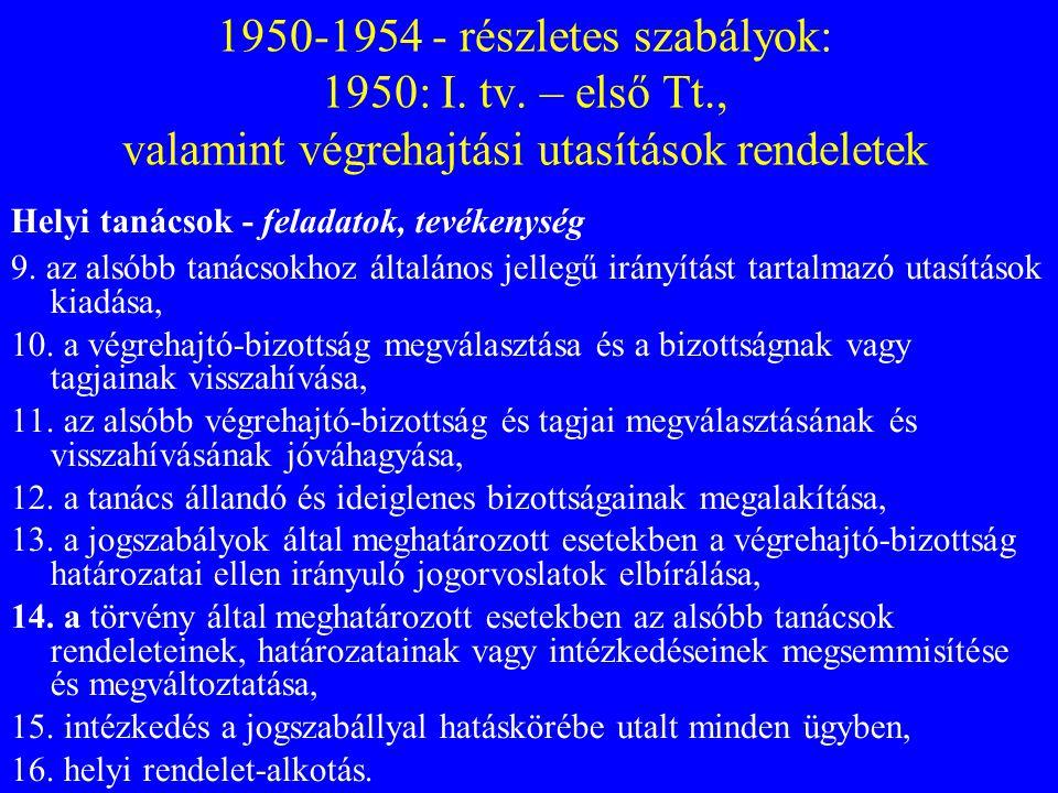 1950-1954 - részletes szabályok: 1950: I. tv. – első Tt., valamint végrehajtási utasítások rendeletek Helyi tanácsok - feladatok, tevékenység 9. az al