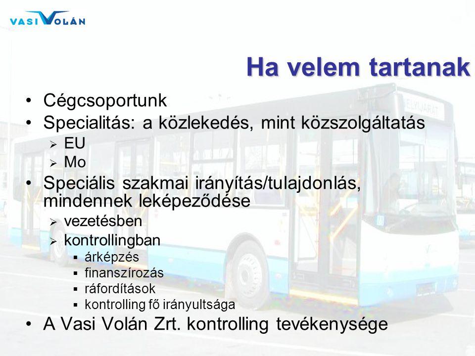 Ha velem tartanak •Cégcsoportunk •Specialitás: a közlekedés, mint közszolgáltatás  EU  Mo •Speciális szakmai irányítás/tulajdonlás, mindennek leképeződése  vezetésben  kontrollingban  árképzés  finanszírozás  ráfordítások  kontrolling fő irányultsága •A Vasi Volán Zrt.