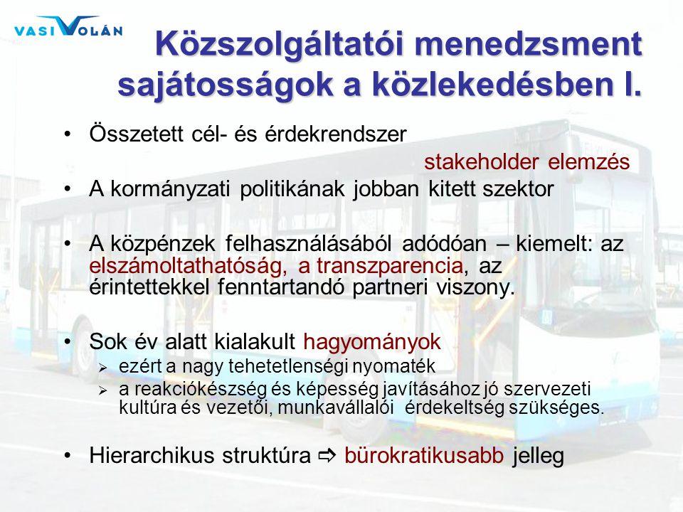 Közszolgáltatói menedzsment sajátosságok a közlekedésben I. •Összetett cél- és érdekrendszer stakeholder elemzés •A kormányzati politikának jobban kit