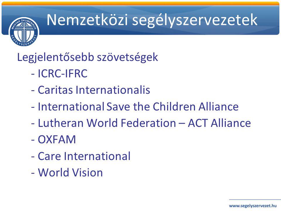 Nemzetközi segélyszervezetek Legjelentősebb szövetségek - ICRC-IFRC - Caritas Internationalis - International Save the Children Alliance - Lutheran Wo