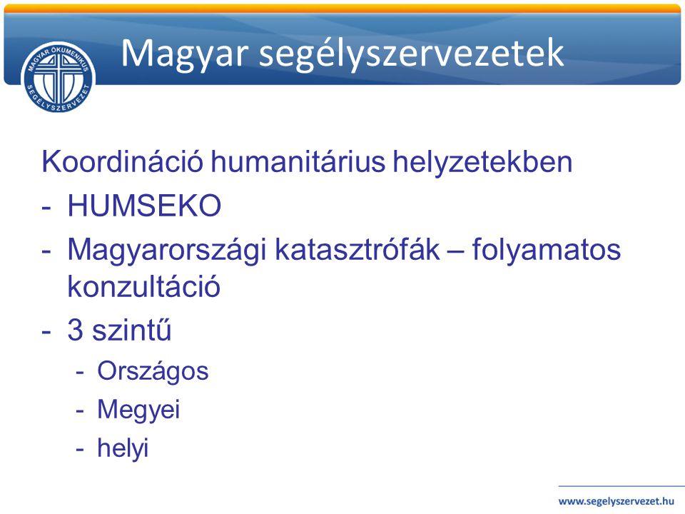 Magyar segélyszervezetek Koordináció humanitárius helyzetekben -HUMSEKO -Magyarországi katasztrófák – folyamatos konzultáció -3 szintű -Országos -Megy