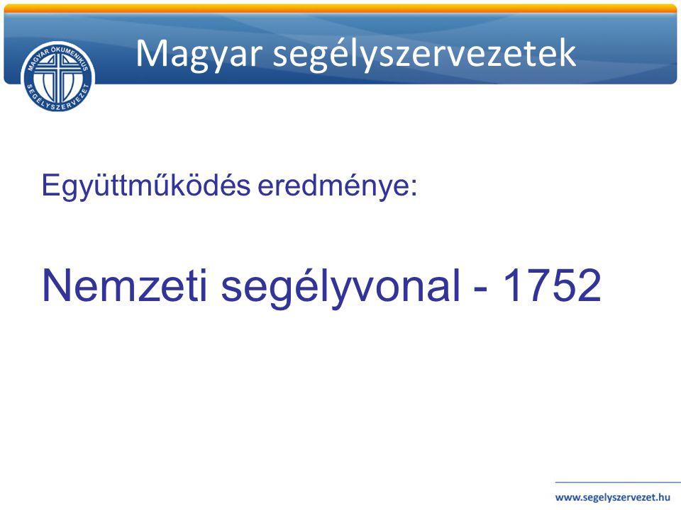 Magyar segélyszervezetek Együttműködés eredménye: Nemzeti segélyvonal - 1752