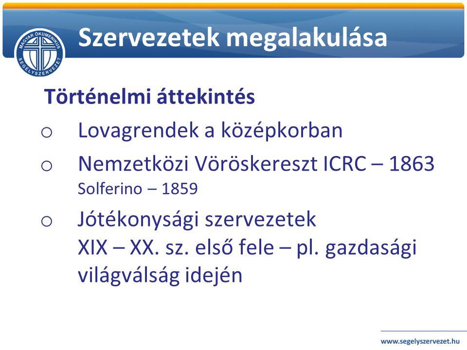 Történelmi áttekintés o Lovagrendek a középkorban o Nemzetközi Vöröskereszt ICRC – 1863 Solferino – 1859 o Jótékonysági szervezetek XIX – XX. sz. első