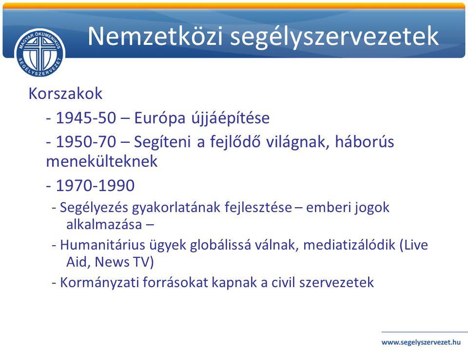 Nemzetközi segélyszervezetek Korszakok - 1945-50 – Európa újjáépítése - 1950-70 – Segíteni a fejlődő világnak, háborús menekülteknek - 1970-1990 - Seg