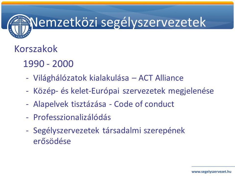 Korszakok 1990 - 2000 -Világhálózatok kialakulása – ACT Alliance -Közép- és kelet-Európai szervezetek megjelenése -Alapelvek tisztázása - Code of cond