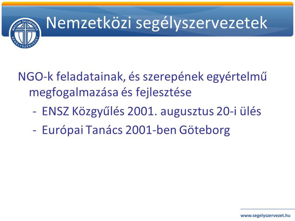 Nemzetközi segélyszervezetek NGO-k feladatainak, és szerepének egyértelmű megfogalmazása és fejlesztése -ENSZ Közgyűlés 2001. augusztus 20-i ülés -Eur