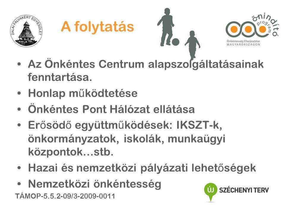 A folytatás •Az Önkéntes Centrum alapszolgáltatásainak fenntartása.