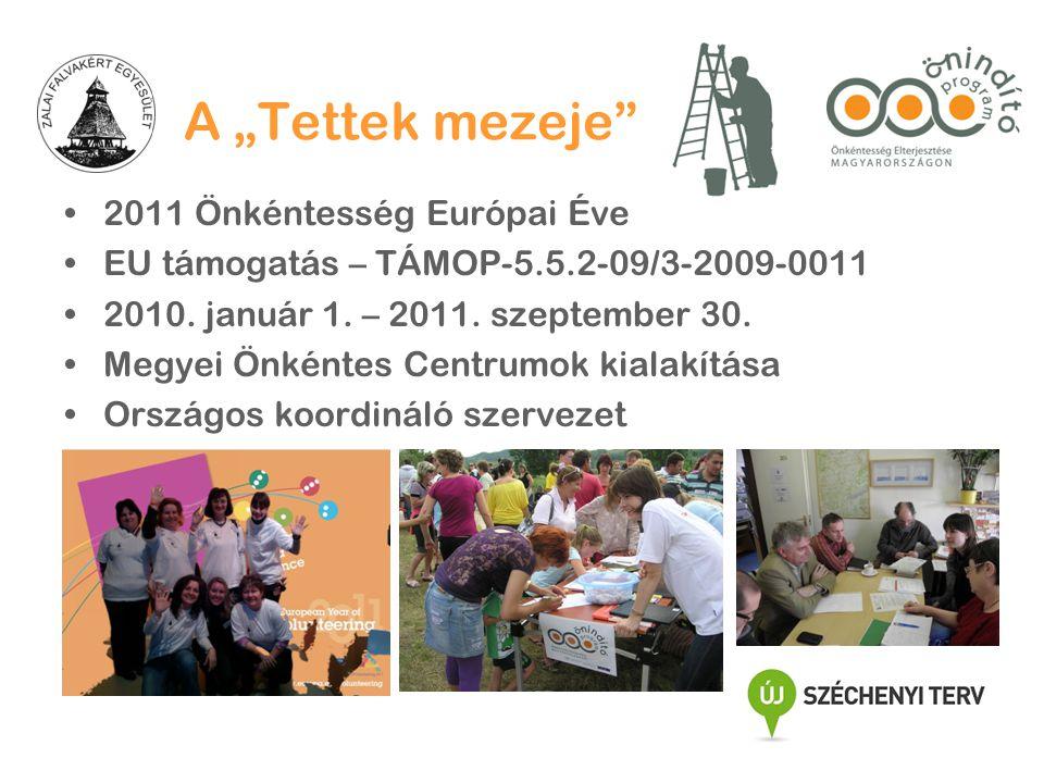 """A """"Tettek mezeje •2011 Önkéntesség Európai Éve •EU támogatás – TÁMOP-5.5.2-09/3-2009-0011 •2010."""