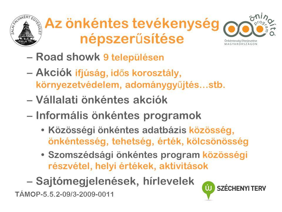 Az önkéntes tevékenység népszer ű sítése –Road showk 9 településen –Akciók ifjúság, id ő s korosztály, környezetvédelem, adománygy ű jtés…stb.