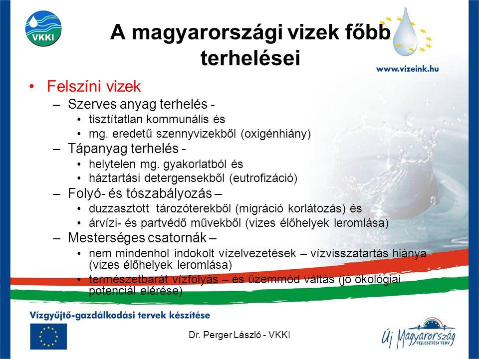Dr. Perger László - VKKI A magyarországi vizek főbb terhelései •Felszíni vizek –Szerves anyag terhelés - •tisztítatlan kommunális és •mg. eredetű szen