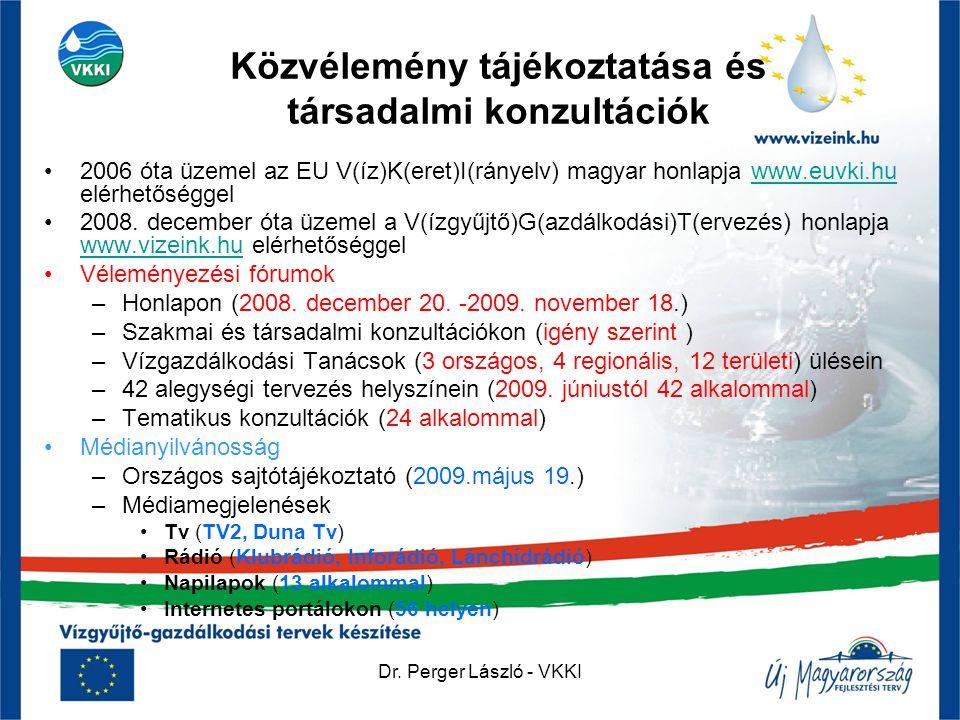 Dr. Perger László - VKKI Közvélemény tájékoztatása és társadalmi konzultációk •2006 óta üzemel az EU V(íz)K(eret)I(rányelv) magyar honlapja www.euvki.