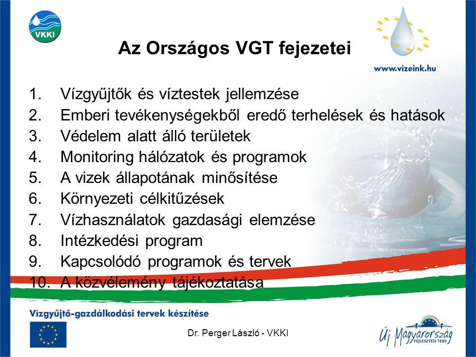 Dr. Perger László - VKKI Az Országos VGT fejezetei 1.Vízgyűjtők és víztestek jellemzése 2.Emberi tevékenységekből eredő terhelések és hatások 3.Védele